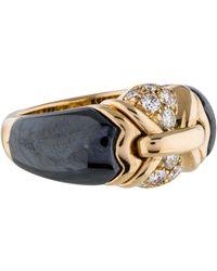 bvlgari 18k vintage diamond and hematite ring yellow lyst