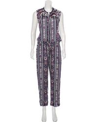 Étoile Isabel Marant - Printed Sleeveless Jumpsuit Navy - Lyst