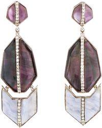 Kara Ross - Blue Lace Agate, Amethyst Doublet & Sapphire Drop Earrings Silver - Lyst