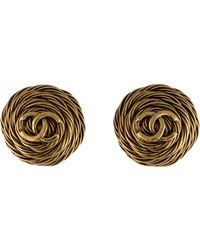 Chanel - Cc Rope Earrings Gold - Lyst