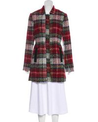 L'Agence - Knee-length Plaid Coat - Lyst