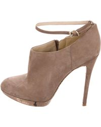 B Brian Atwood - Suede Round-toe Booties - Lyst