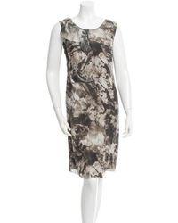 CoSTUME NATIONAL - Printed Silk Dress Grey - Lyst