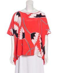 24439283e8605 Diane von Furstenberg - New Hanky Silk Top Coral - Lyst