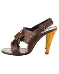 59aa3ca46c04f9 CoSTUME NATIONAL - Leather Ankle Strap Sandals - Lyst
