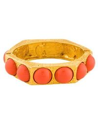 Kenneth Jay Lane - Coral Hinged Bangle Gold - Lyst