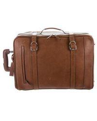 Brunello Cucinelli - Leather Rolling Trolley Luggage Silver - Lyst
