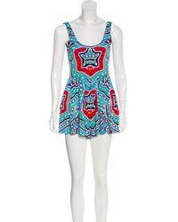 Mara Hoffman - Printed Sleeveless Romper W/ Tags Turquoise - Lyst