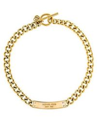 Michael Kors - Crystal Plaque Curb Chain Toggle Necklace Gold - Lyst
