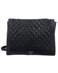 Chanel - Large Quilted Boy Bag Blue - Lyst