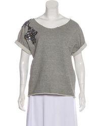 Gryphon - Embellished Short Sleeve Sweater Grey - Lyst