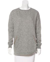 Loro Piana - Leather-trimmed Cashmere Sweatshirt Grey - Lyst