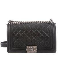 f23a8e5dc3b Lyst - Chanel Patent Chevron New Medium Boy Bag Grey in Gray