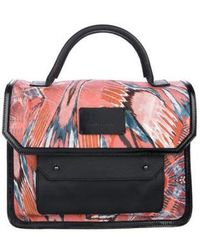 Philosophy di Alberta Ferretti - Leather-trimmed Abstract Printed Satchel Terracotta - Lyst