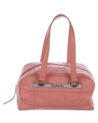 Chanel - Caviar Square Quilt Bowler Bag - Lyst