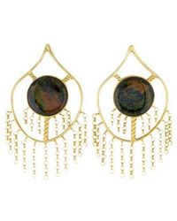 Kara Ross - 18k Treated Black Opal Drop Earrings Yellow - Lyst