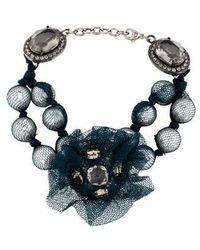Lanvin - Faux Pearl, Crystal & Tulle Bracelet Silver - Lyst