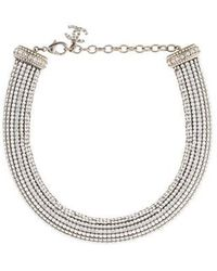 Chanel - Pavé Crystal & Faux Pearl Choker Silver - Lyst