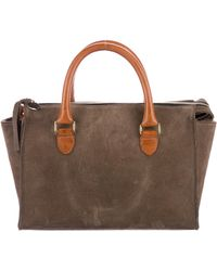 Clare V. - Leather-trimmed Suede Satchel Brown - Lyst