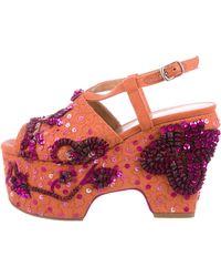 591b7be1032 Dries Van Noten - Embellished Platform Sandals Coral - Lyst