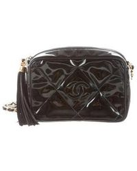 Chanel - Vintage Patent Leather Camera Bag Black - Lyst 8a2efb011352d