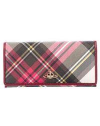 Vivienne Westwood - Tartan Continental Wallet Magenta - Lyst