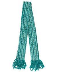 Blumarine - Fringe Knit Scarf Aqua - Lyst