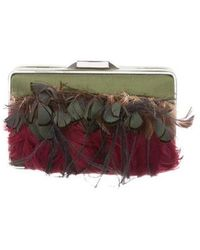 Theyskens' Theory - Feather-accented Satin Clutch Green - Lyst