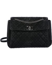 965b9e6deedc11 Lyst - Chanel Vintage Quilted Flap Bag Black in Metallic
