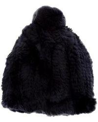 Glamourpuss - Knitted Fur Beanie W/ Tags Navy - Lyst