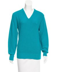 Dior - Embroidered Crew Neck Sweater Turquoise - Lyst