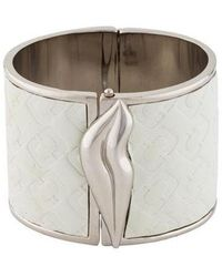 Diane von Furstenberg - Frankie Wide Leather Hinged Cuff Silver - Lyst
