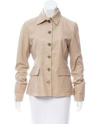 Loro Piana - Structured Leather Jacket Tan - Lyst