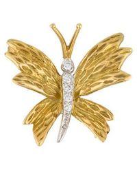 Tiffany & Co. - 18k Diamond Butterfly Pin Yellow - Lyst