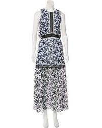 b756ceb9ddbb4 Lyst - Self-Portrait Guipure Lace Maxi Dress Navy in Natural