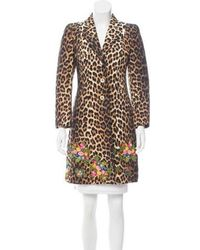 Boutique Moschino - Leopard Print Floral-embroidered Coat - Lyst