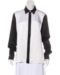 8d3a27d120b43 Lyst - Michael Kors Silk Short Sleeve Blouse in Black