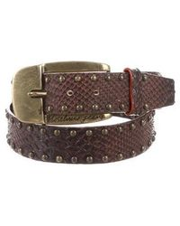 Moschino Jeans - Embossed Studded Belt Brown - Lyst