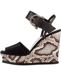 Roberto Cavalli - Snakeskin Wedge Sandals - Lyst