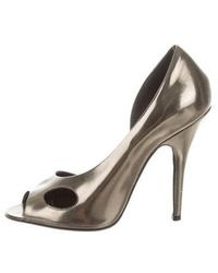 Givenchy - Metallic Peep-toe Pumps Pewter - Lyst