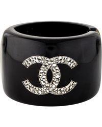 752bbcbaa8a Chanel - Crystal Cc   Star Resin Cuff Silver - Lyst