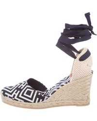 8961926bdad5 Lyst - Tory Burch Patent Leather Wedge Sandals Navy in Blue