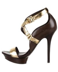 6b97af660bbcc Lyst - Tory Burch Leather Peep-toe Sandals in Brown