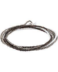 Brunello Cucinelli - Hematine & Agate Beaded Wrap Bracelet Silver - Lyst