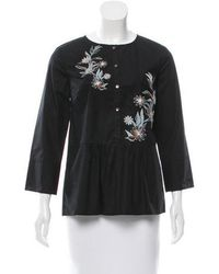 SUNO - Embroidered Button-up Top - Lyst