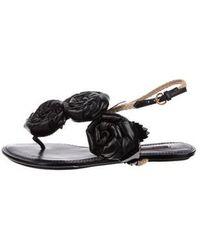 7ad6ef59d8053e Louis Vuitton - Floral Thong Sandals Black - Lyst