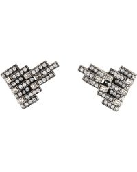 Lulu Frost - Satellite Crystal Clip-on Earrings Silver - Lyst
