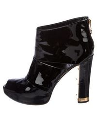 5106e9758c01fd Tory Burch - Patent Leather Cutout Ankle Boots Black - Lyst