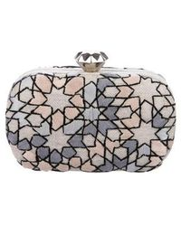 Sarah's Bag - Embroidered Frame Clutch Silver - Lyst