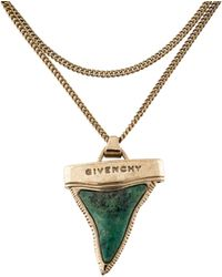 Givenchy - Turquoise Shark Tooth Pendant Necklace Gold - Lyst